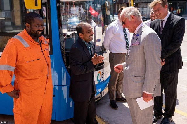Following their visit to the cathedral, the couple made their way to Exeter's new bus station where they met with transport workers, council leaders and 'Net Zero Heroes' involved in Exeter City Council's ambition to achieve net zero carbon emissions by 2030