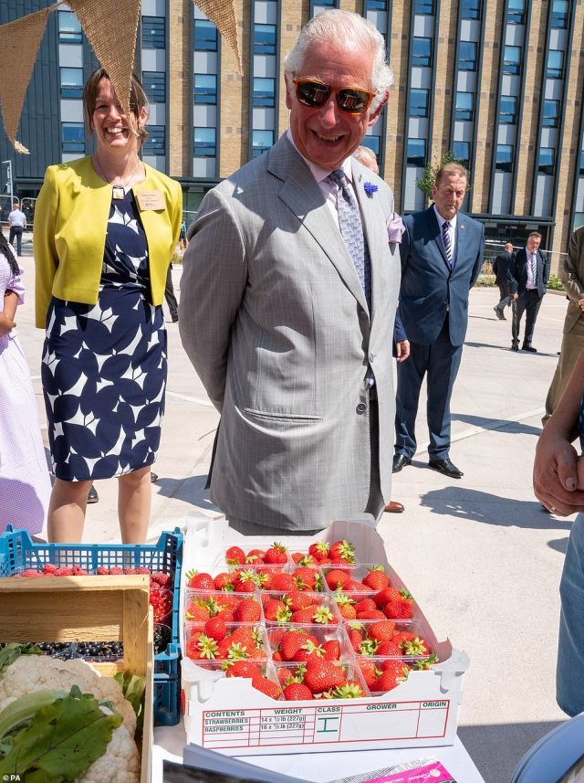 The Prince of Wales admires punnets of strawberries, raspberries and blackcurrants on a stall during a visit to St Sidwell's bus depot in Exeter