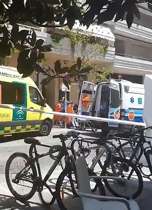 Pictured: Ambulances at the scene in Marbella on Monday