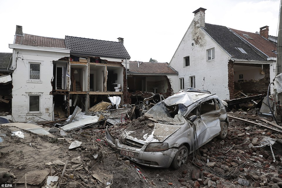 Destruction after heavy rains caused flooding in Pepinster, Belgium, as cleanup efforts continue on Monday