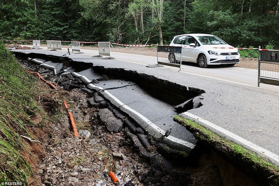 A destroyed street is seen in an area affected by floods caused by heavy rainfalls in Bad Muenstereifel, Germany