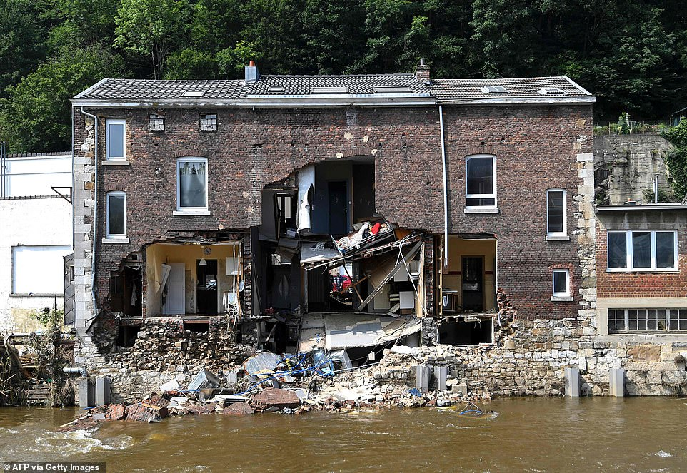 A destroyed building in Pepinster, Belgium, on July 19, following heavy flooding across France, Belgium, Germany, and the Netherlands