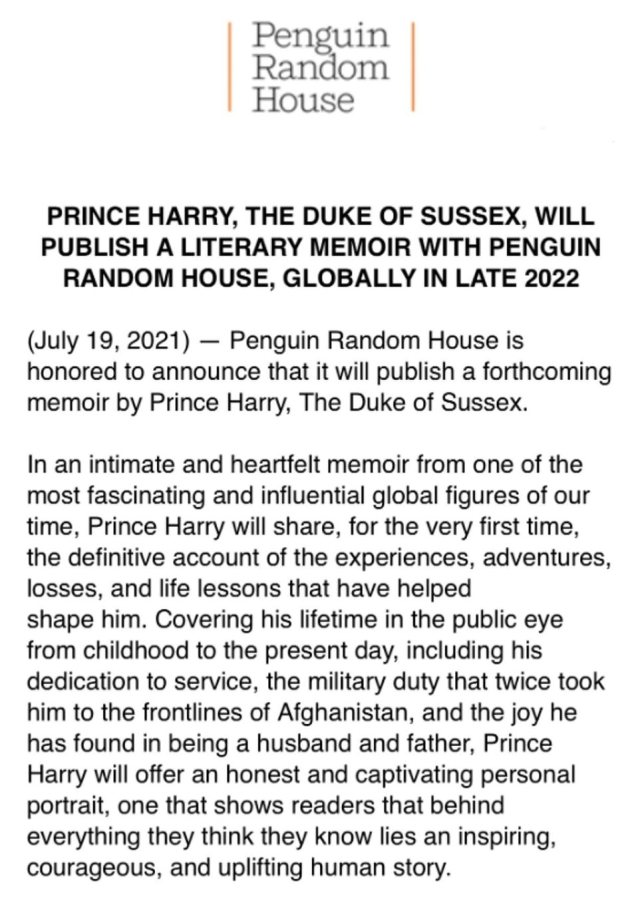 The proceeds of the deal are likely to be worth millions and, although the exact financial terms were not disclosed, Prince Harry will donate proceeds to charity, according to Random House