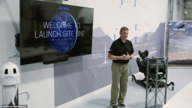 The team were also seen receiving a briefing before the flight. Tuesday's mission will be the first time that humans have flown on New Shepard. Previous test flights have been unmanned