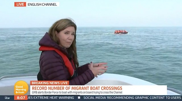Good Morning Britain journalist Pip Tomson told ITV viewers that the dinghy, which is made for just six passengers, was escorted by a French warship to the border before it left, apparently thinking that the team of reporters would then escort the migrants back to the UK