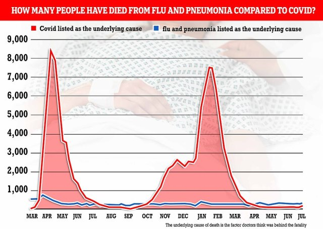Flu and pneumonia were also still blamed for more deaths than Covid in the latest week. They were behind 254 fatalities, compared to the 147 which noted Covid as the main cause of death