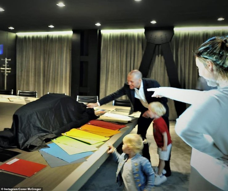 Yay: In October Conor was seen picking out swatches for his new boatalongside fiancée Dee Devlin and their children Conor Jr, three and Croia, two after purchasing the liner in Italy, the 12th of just 63 that were being made
