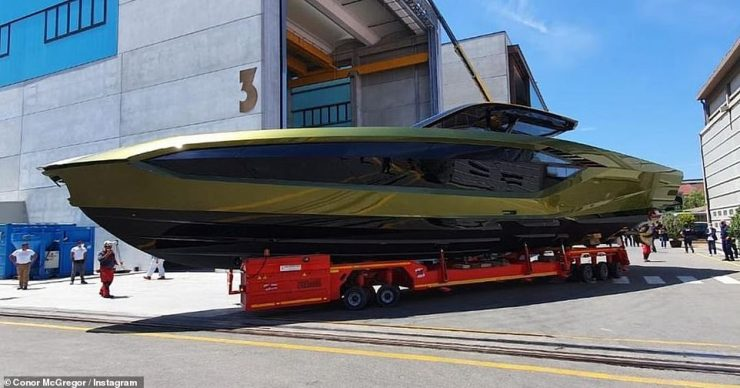 It's ready! Conor McGregor reveals his £2.6 million Lamborghini yacht has been completed as he shared an Instagram snap of the vast liner on Tuesday (pictured)