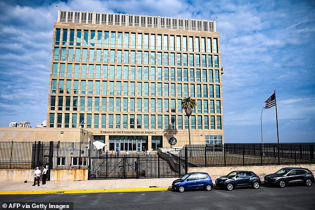 The review will look at bolstering staffing at the U.S. embassy in Havana (pictured on May 20, 2021) and aim to make sure money sent from Cuban Americans make it to their families on the island. The administration is also looking at making internet accessible after it was cut off and the Treasury Department could issue sanctions