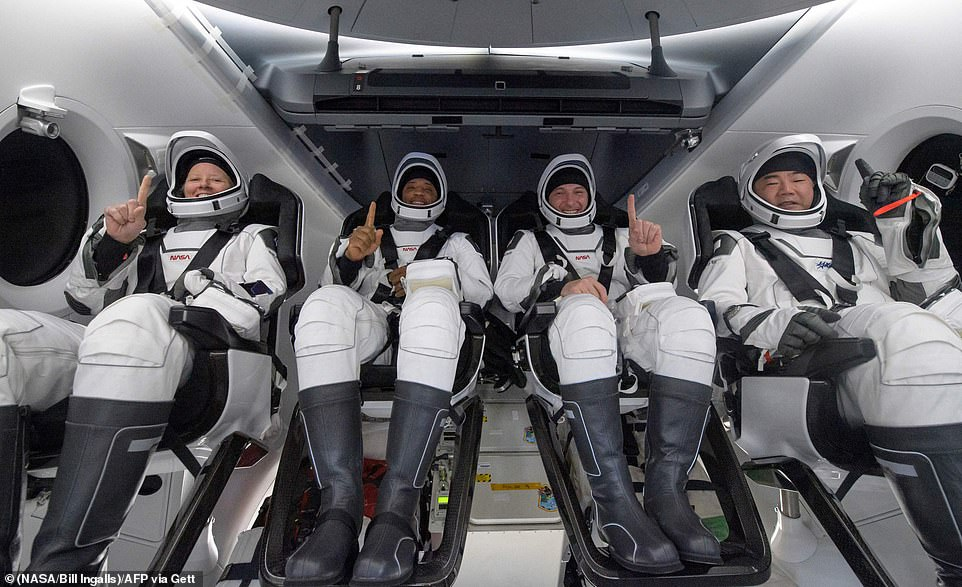Elon Musk's SpaceX is leading the billionaire space race. He has already sent two crews of astronauts to the international space station, including those who flew on May 2 (above). He is yet to go to space himself