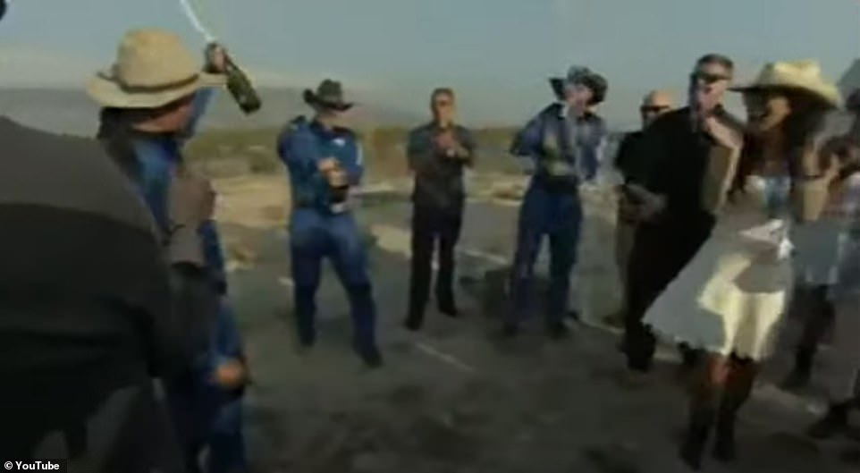 The Blue Origin crew celebrated with champagne on landing in the Texas desert after a textbook flight to space