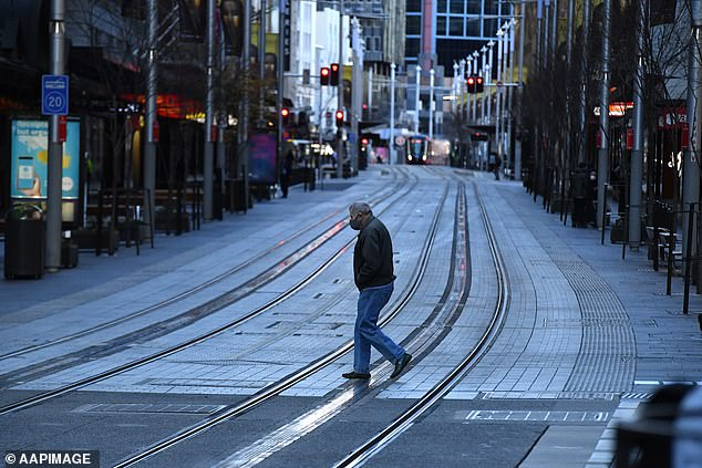 There appears to be no end in sight for Sydney's lockdown as the city enters its fourth week of tough restrictions (pictured, an eerily quiet George Street on Tuesday)