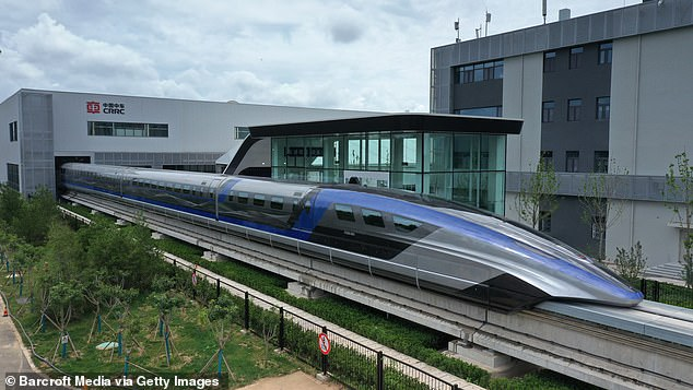 Using electro-magnetic force, the maglev train 'levitates' above the tracks with no contact between body and rail