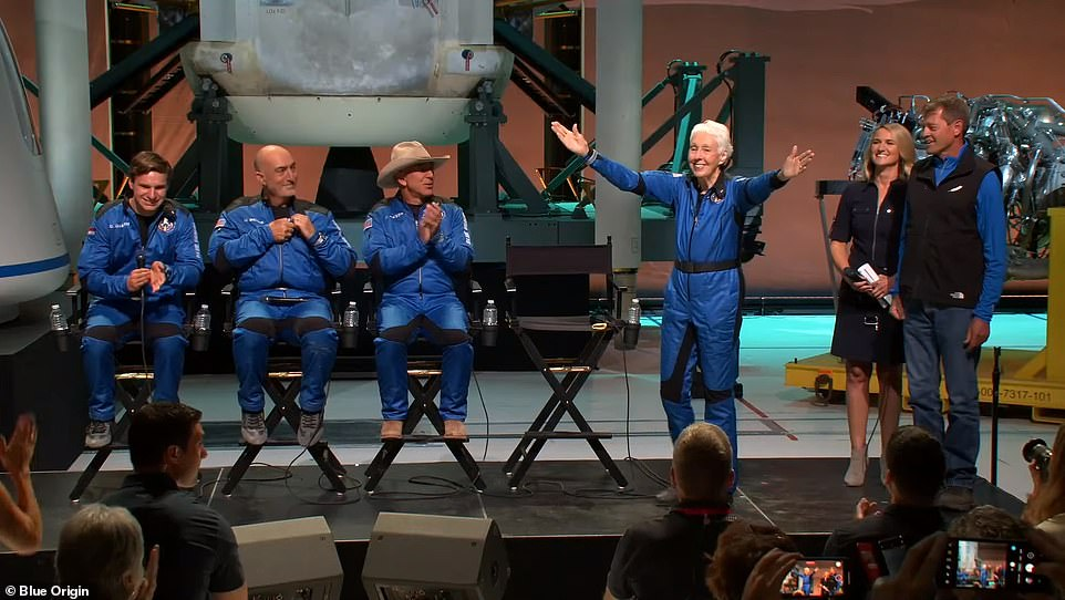 Funk (right) joined Amazon found Jeff Bezos (second from right), his brother Mark (second from left) and 18-year-old Oliver Daemen (left) 66 miles above the surface, where they spent around four minutes in zero gravity while feasting their eyes on views that were out of this world