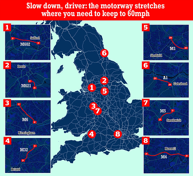 Speed limits will be reduced from 70mph to 60mph on at least eight sections of the motorway across England