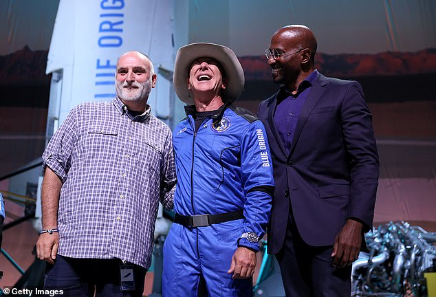CNN's Van Jones and celebrity chef Jose Andres were both on hand to accept their $100 million, which was announced at the conclusion of Bezos' space launch press conference