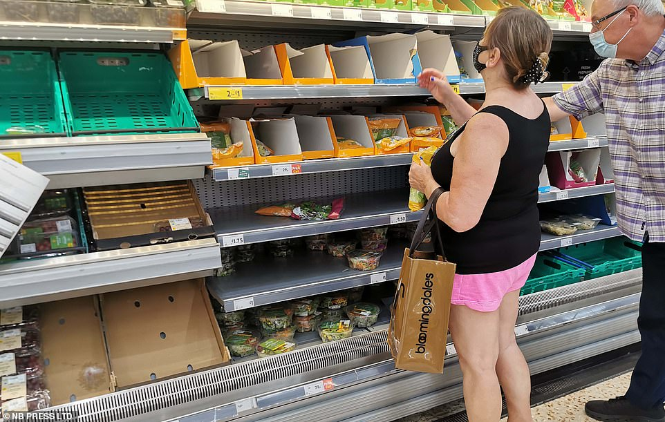 The government recently announced it would excuse some HGV drivers from self-isolating to relieve supply shortages. Pictured are bare shelves at a Morrisons in Bradford
