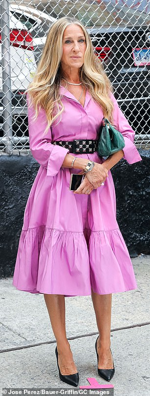 The Ohio-born 56-year-old wore a pink Carolina Herrera shirt-dress with the same $250 black-studded Streets Head 'Roger' belt she rocked in the Sex and the City movie