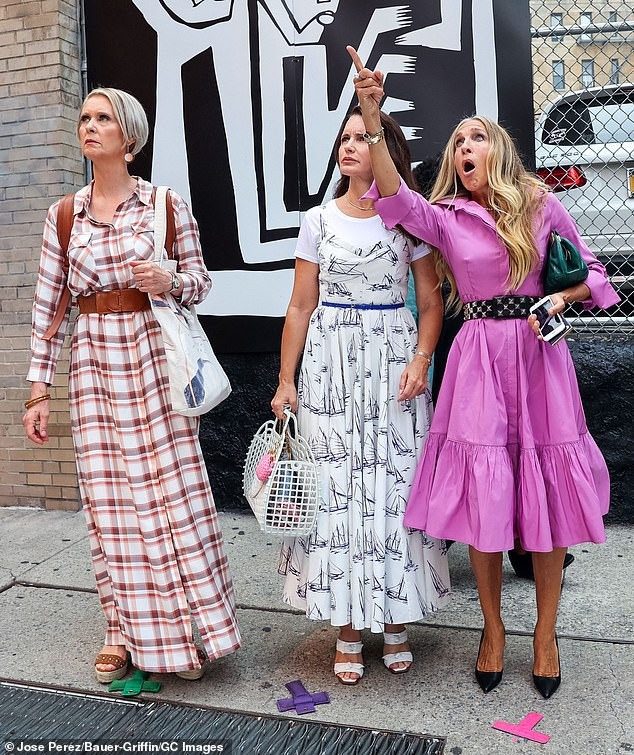 Fashionistas:Cynthia (L) wore a brown plaid shirt-dress as attorney Miranda Hobbes, and Kristin (M) wore a sailboat-print dress over a T-shirt as mother-of-two Charlotte York Goldenblatt