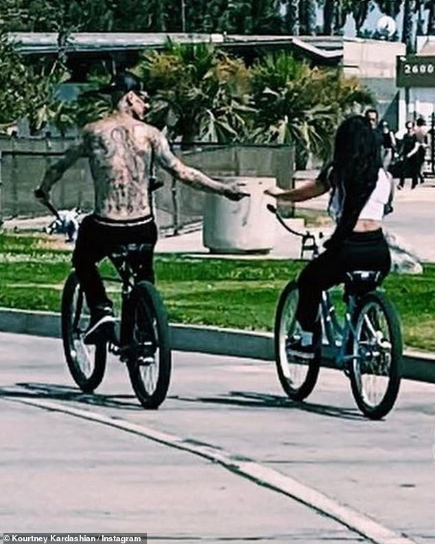Just the two of us: The 42-year-old reality star included the snap in a roundup of shots from her weekend, which included riding bikes near the Venice Beach boardwalk with Travis Barker
