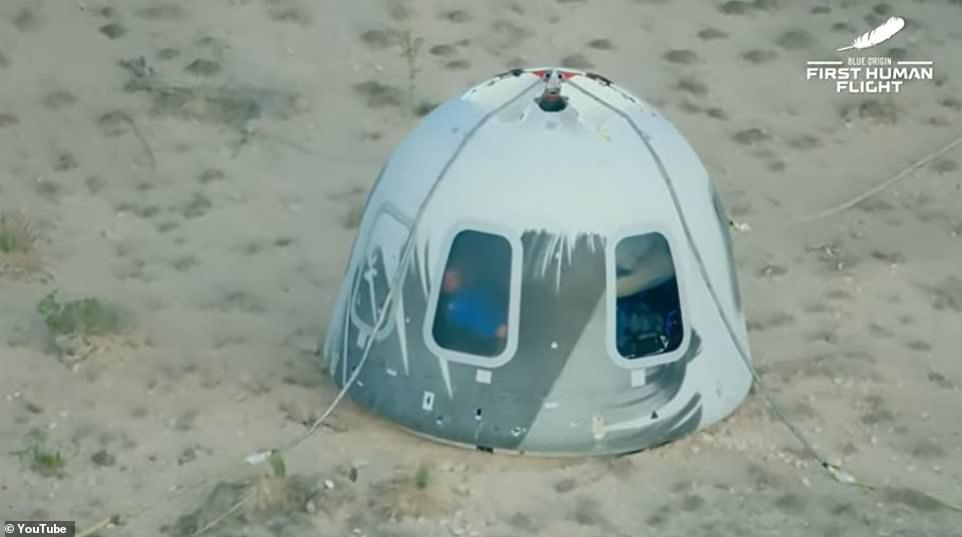 Funk could be heard saying 'wow' and 'oh my lord' over and over again inside the return capsule following the mission, which she said felt like it was only five minutes, as the four waited for crews to release them