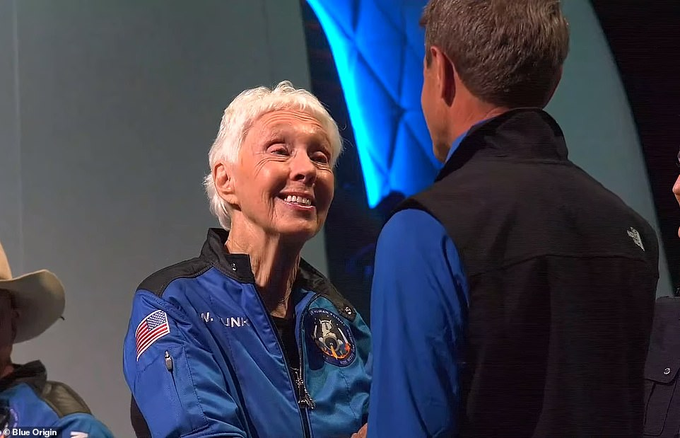 At a press briefing following the launch, Funk was asked how it felt to be in the capsule and the 82-year-old snapped out of her chair and let out a celebratory 'woot!' 'It was a great time and I want to go again and fast,' she continued