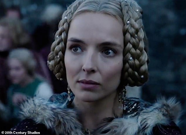 Star power:Jodie Comer transformed into French noblewoman as Matt Damon and Adam Driver 'fight to the death' in the first trailer for the medieval drama, released on Tuesday
