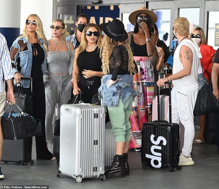 Girls trip: The next day she was on-the-go, seen touching down in NYC for a getaway with her Real Housewives Of Miami castmates Marysol Patton, Alexia Echevarria, Lisa Hochstein and Adriana DeMoura, Julia Lemigova, Kiki Barth and Dr. Nicole Martin