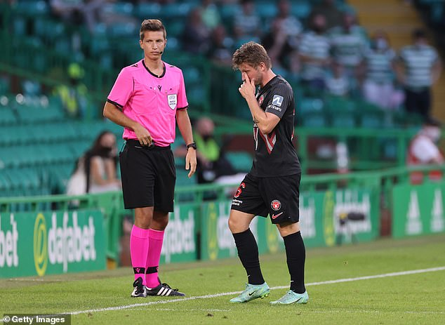 Midtjylland's Anders Dreyer received his marching orders in the 56th minute in Glasgow