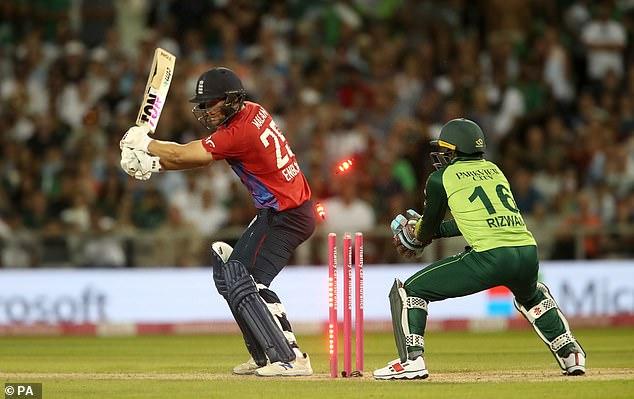 Offspinner Hafeez then struck by bowling Dawid Malan with England still needing 12 runs