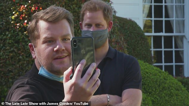 GUY ADAMS asks:Did Harry (pictured alongside James Corden) plan to go into showbiz?