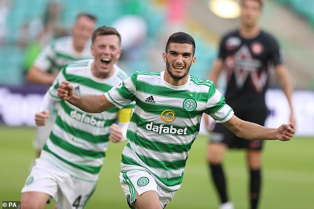 Liel Abada put Celtic ahead in the 39th minute before they were reduced to 10 men