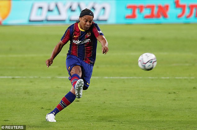 Ronaldinho came close to scoring in stunning style after his chip from distance flew just over