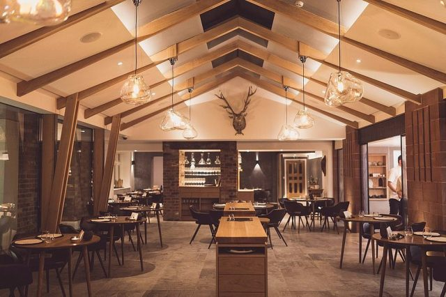 Moor Hall in Aughton is fifth in the UK fine-dining ranking. This two-Michelin-starred glass-fronted restaurant boasts 'lovely views' over the lake on the Moor Hall estate