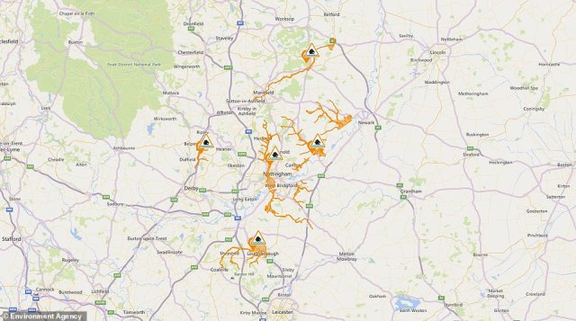 Flood alerts have also been issued by the Environment Agency for Leicestershire, Derbyshire and Nottinghamshire
