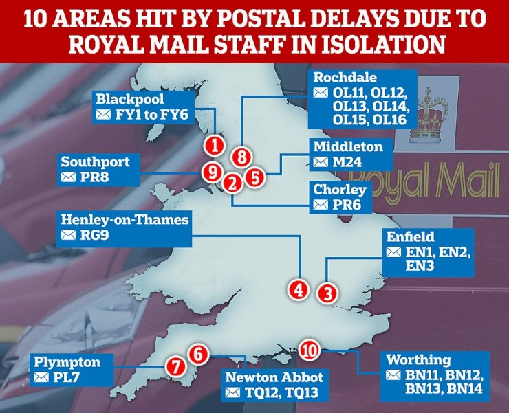Royal Mail has also seen an increase in absences due to staff having to self-isolate, and this morning announced delays to deliveries in 10 parts of England