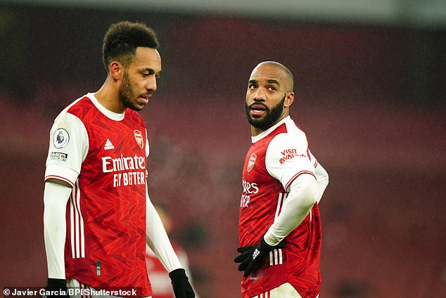 Pierre-Emerick Aubameyang (L) struggled for goals last season, with Alexandre Lacazette becoming the key man at the top