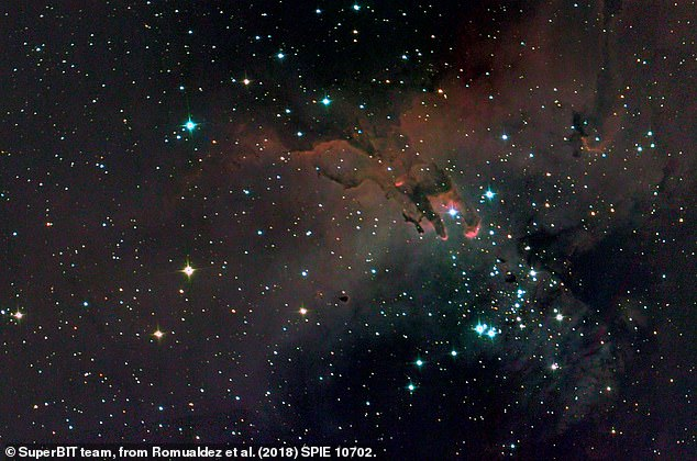 A SuperBIT optical and ultraviolet composite image of the 'Pillars of Creation', trunks of gas and dust in the Eagle Nebula, 7,000 light years away in the direction of the constellation of Serpens