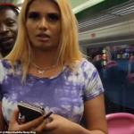 Young woman is filmed on train threatening to stab commuters as she hurls racist abuse 💥👩💥