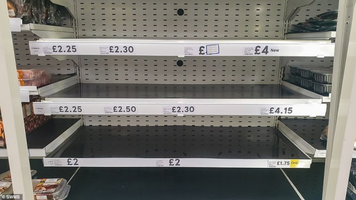 The meat section at a Tesco in Bristol today. Today theBritish Meat Processors Association complained that food supplies chains had been put under heavy strain