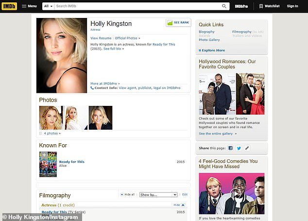 Hmm: In addition to securing the first 'date' during Wednesday's premiere episode, Holly's profile on IMDb - an online database for people in the entertainment industry - was revealed