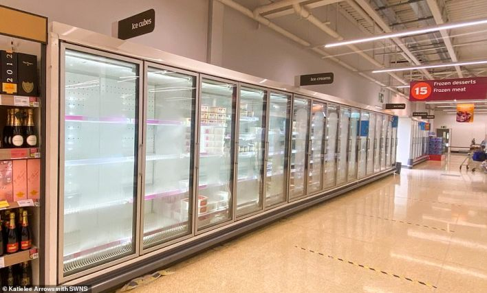 A frozen section at a Sainsbury's inCraigleith, Edinburgh.The images will raise concerns that staff shortages are leading to delays in replenishing product lines in supermarkets, although it is likely that many of these products are in higher demand in the summer