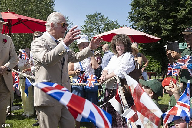 The Prince of Wales took time to speak to well-wishers as he attended a gathering of the town's community groups and young people in Victoria Park