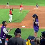 Moment woman RUNS away as her boyfriend makes a very public proposal at baseball game 💥👩💥