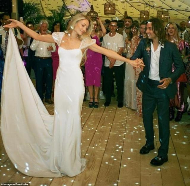 Full of love! Fran Cutler shared this stunning photo of the newlyweds dancing with the caption: 'Love you guys so much What an amazing wedding such a joy to be there so much love in the room'