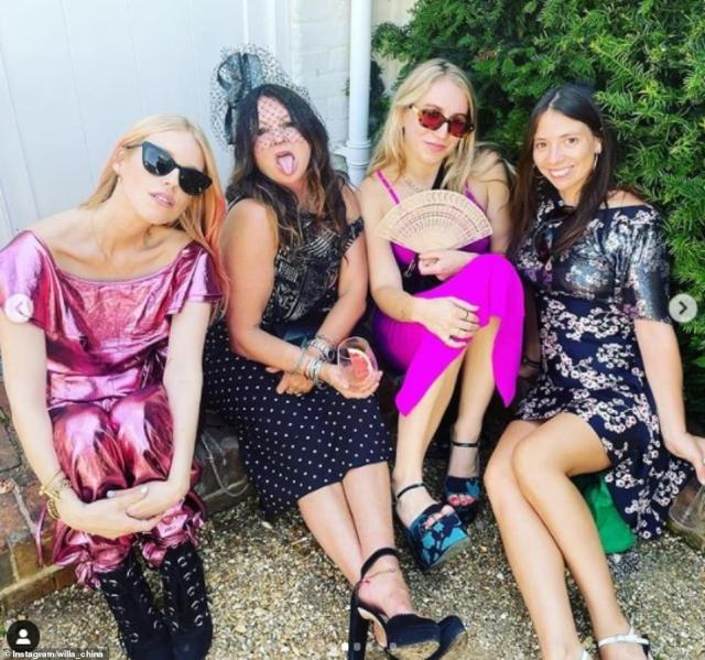 Girl gang! Society DJ Lady Mary Charteris, who welcomed a daughter earlier this year, was among the guests. Pictured (left) with party queen and Kate Moss' BFF Fran Cutler (second from left) and film producer Kitty Wordsworth (second from right)