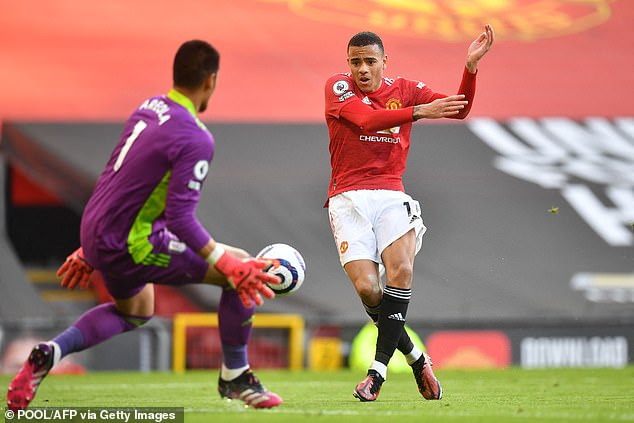 Greenwood is denied by Fulham goalkeeper Alphonse Areola during the draw at Old Trafford
