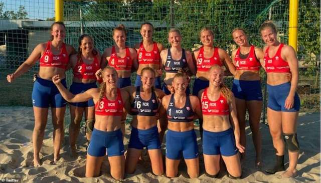 The Disciplinary Committee of the European Handball Federation (EHF) on Monday fined the team 1,500 euros (£1,300), or 150 euros (£130) per player. The fine comes after they wore shorts - instead of the bikini bottoms required by International Handball Federation's (IHF) rules - in their bronze-medal match loss to Spain at the European Beach Handball Championship in Bulgaria on Sunday. Pictured in their shorts
