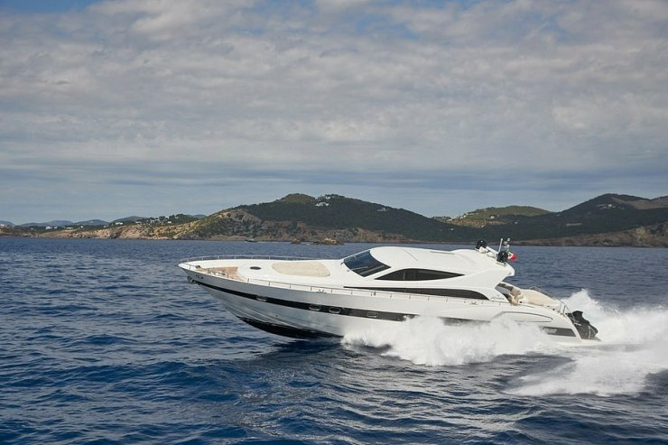 Cruising:The Sterlings have been cruising the seas of Ibiza in motor yacht NINA a well-laid out vessel built by the Italian Alfamarine shipyard with interiors by Cantiere di Fiumicino