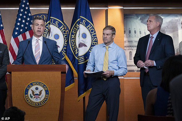 Speaker Pelosi objected to the inclusion of Republican Congressmen Jim Banks (left) and Jim Jordan (center), both strong allies of former President Donald Trump, to the committee investigating the Jan. 6 riot